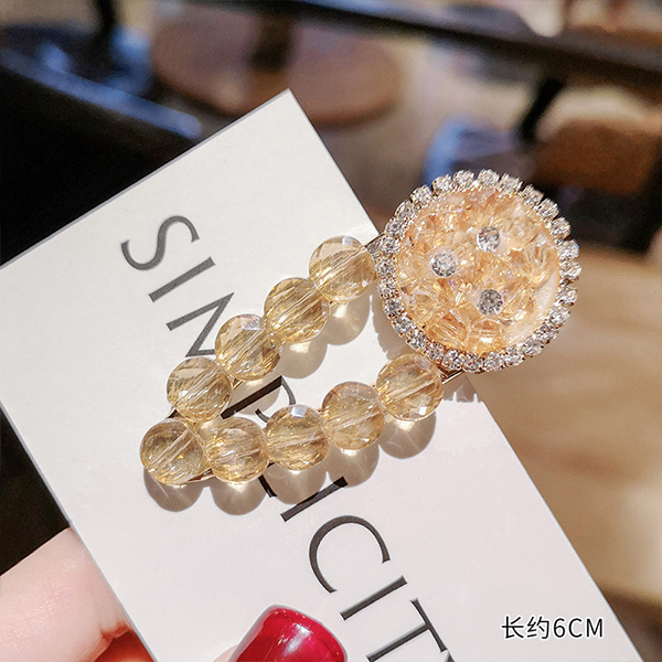Crystal Carved Spherical Shaped Hair Clip - Yellow