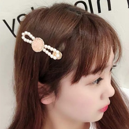 Bow Shaped Rhinestone Decorated Hair Clip - White