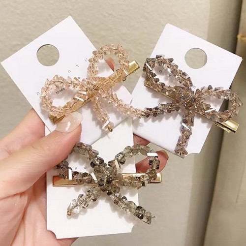 Bow Shaped Rhinestone Patched Hair Clips - Yellow