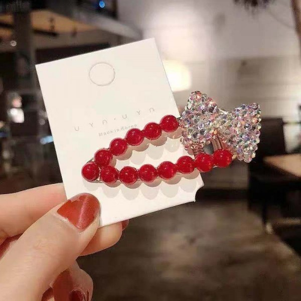 Crystal Decorated Fancy Wear Hair Clip - Red