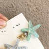 Crystal Patched Star Fish Shaped Hair Clips - Blue