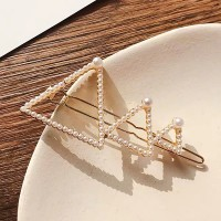 Triangular Pearl Decorative Women Fashion Hair Clip