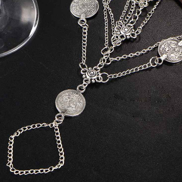Multi Layer Decorative Beach Wear Anklet - Silver