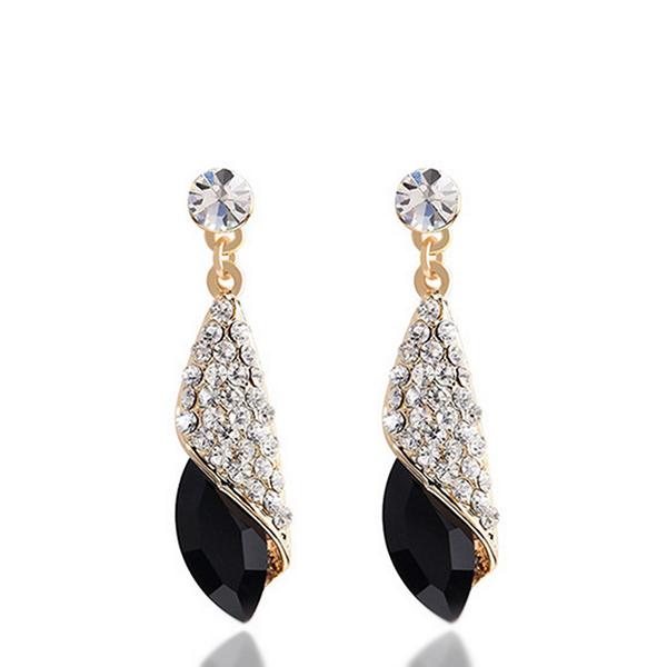 Elite Crystal Tear Drop Long Wedding Earrings Black
