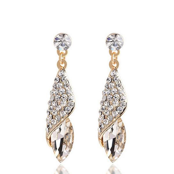 Elite Crystal Tear Drop Long Wedding Earrings White