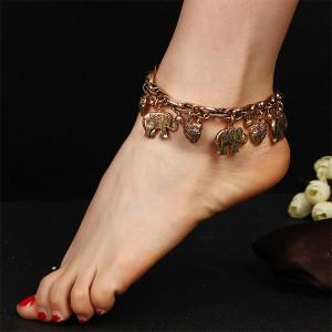 Vintage Elephant Pendant Chain Ethnic Anklet Golden