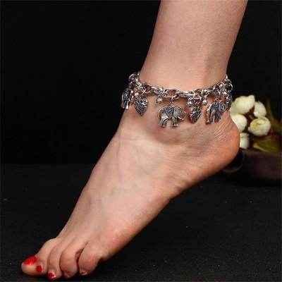 Vintage Elephant Pendant Chain Ethnic Anklet Silver