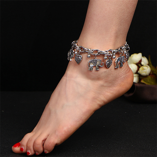 Vintage Elephant Pendant Chain Ethnic Anklet Silver