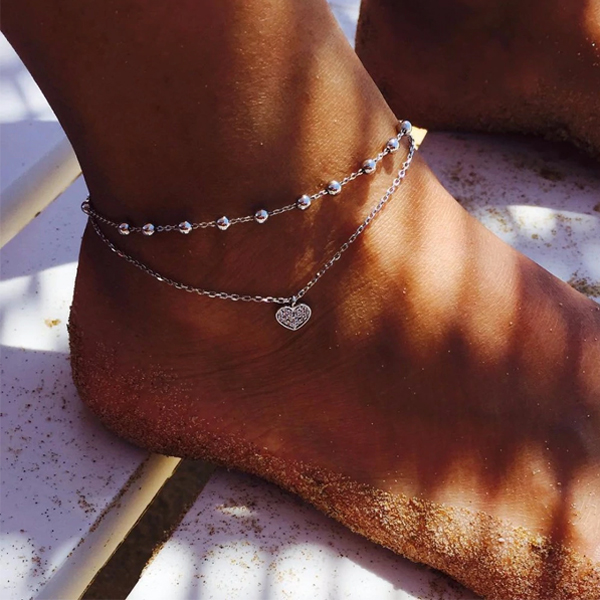 Love Heart Chain Silver Plated Anklet