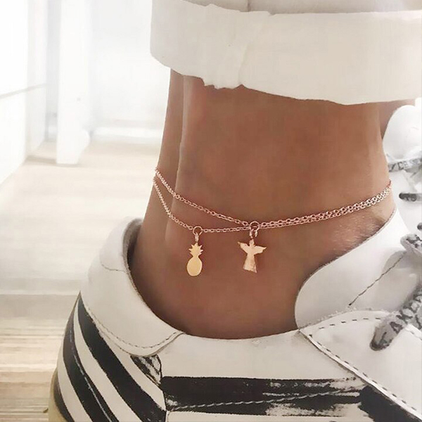 Pineapple Chain Golden Casual Anklet