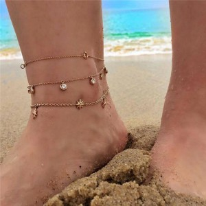 Gold Plated Multi Layered Anklet
