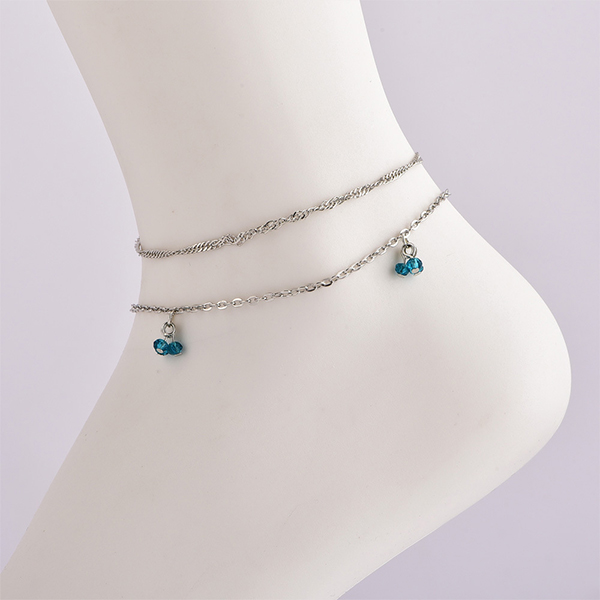 Silver Plated Crystal Chain Anklet