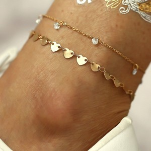 Gold Plated Heart Pattern Anklet