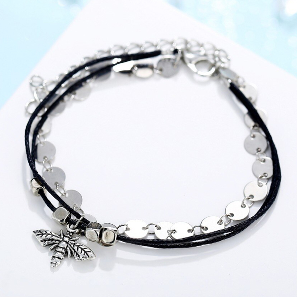 Bee Engraved Coins Decoration Anklet
