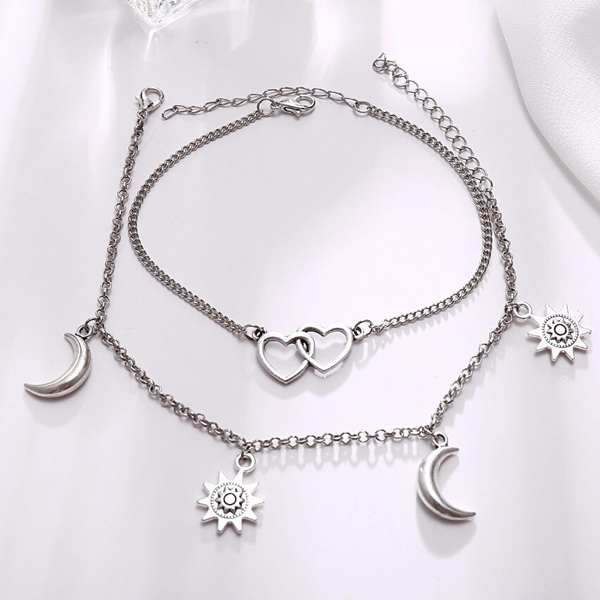 Silver Plated Lunar Hearts Chain Anklet