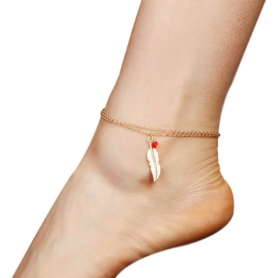 Feather Beads Quality Gold Plated Anklet