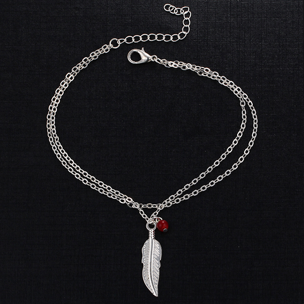 Feather Beads Quality Silver Plated Anklet