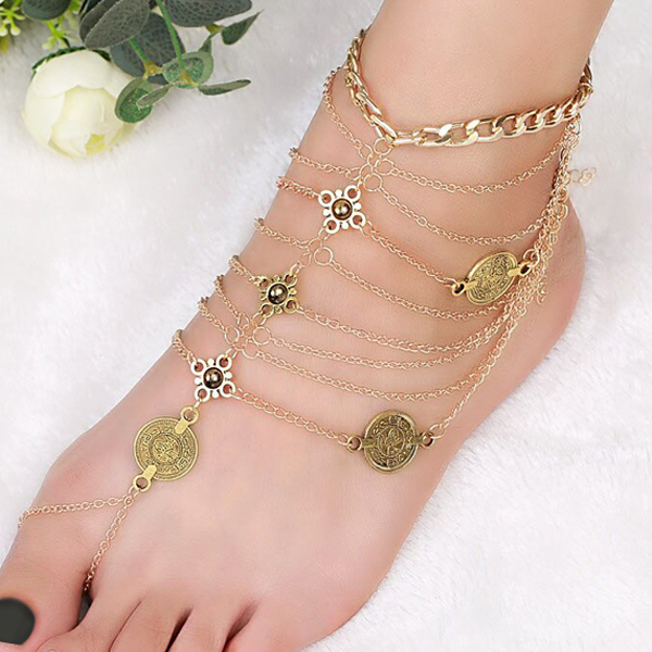 Gold Plated Multi-Layered Bohemian Chain Anklet