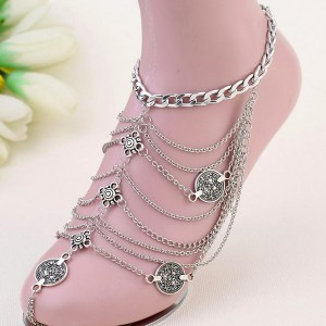 Silver Plated Multi-Layered Bohemian Chain Anklet