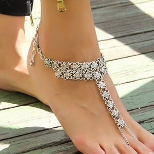 Bohemian Chain Silver Plated Party Wear Anklet