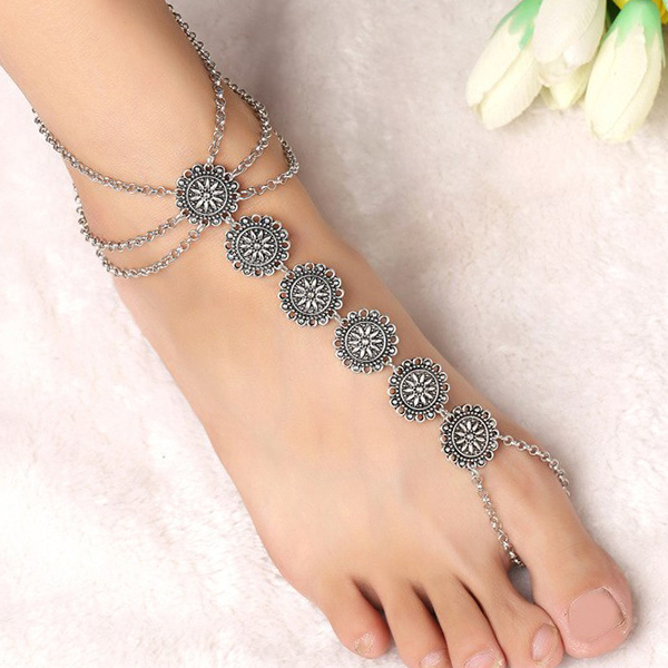 Chain Bohemian Silver Plated Chain Anklet - Silver