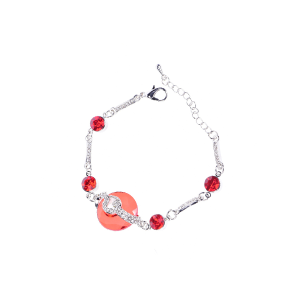 Shining Red And White Crystal Chain Bracelet For Women