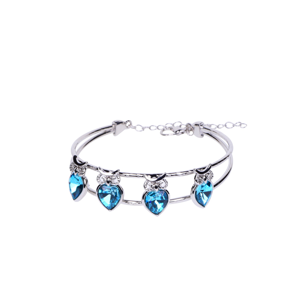 Delicate Aquatic Heart Shaped Crystal Bracelet
