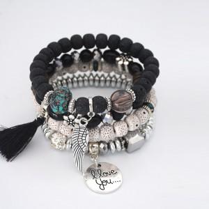 Multilayered Beads Decorated Bohemian Bracelets - Black
