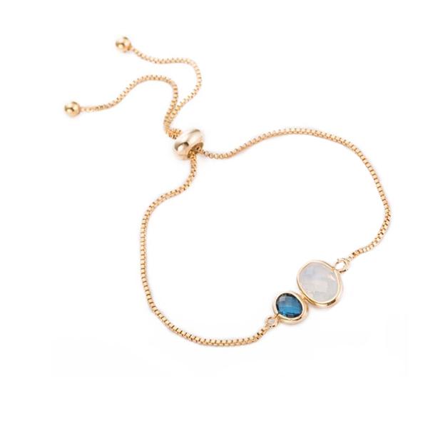 Golden Bracelet Fine Jewelry Blue Glass Stones Adjustable Chain Bracelet