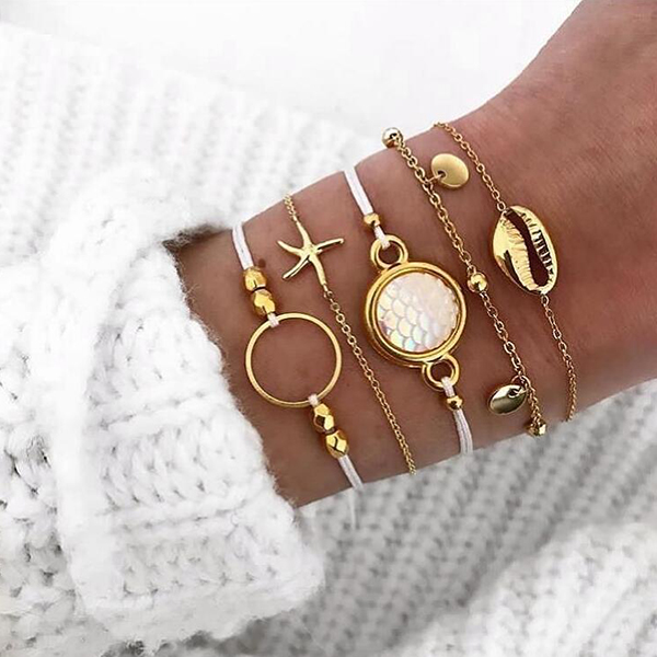 Fives Pieces Gold Plated Chain Casual Bracelets Set