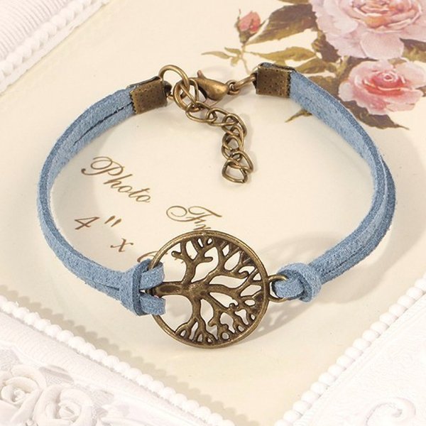 Splashy Colored Leather Tree Bracelets For Women