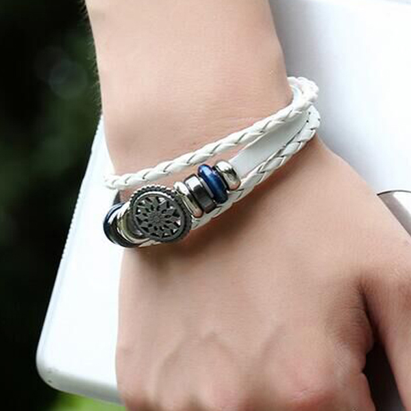 Bohemian Engraved Leather Unisex Bracelet - White