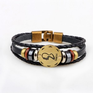 Horoscope Stylish Leather Strappy Unisex Bracelet - Gemini