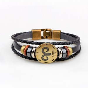 Horoscope Stylish Leather Strappy Unisex Bracelet - Aries