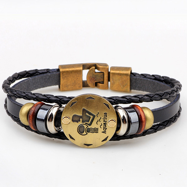 Horoscope Stylish Leather Strappy Unisex Bracelet - Aquarius