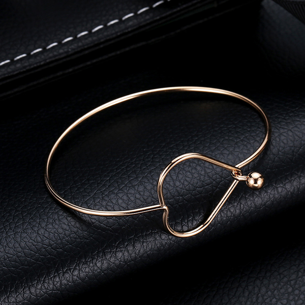 Heart Moulded Gold Plated Bangle Bracelets
