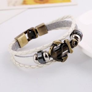 Anchor Patched Multilayer Bracelet For Unisex - White