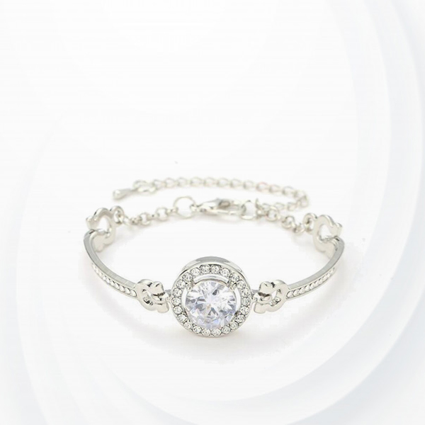Crystal Patched Chain Wedding Special Bracelet - Silver