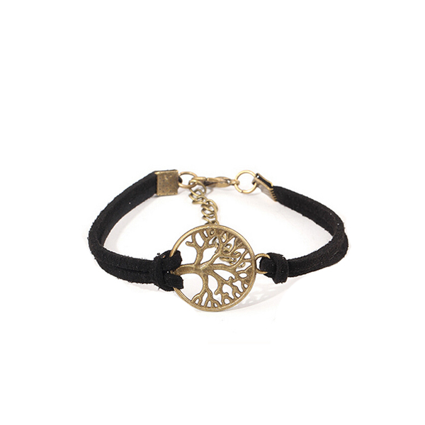 Splashy Black Colored Leather Tree Bracelets For Women