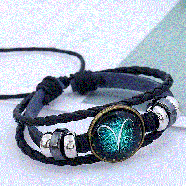 Shiny Unisex Zodiac Sign Horoscope Bracelet - Aries