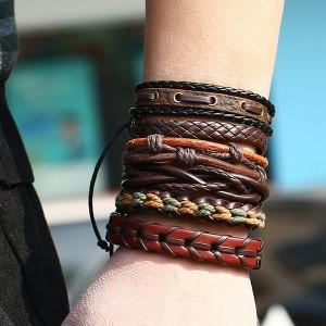 Multilayered Bohemian Rope Bracelets Set - Brown
