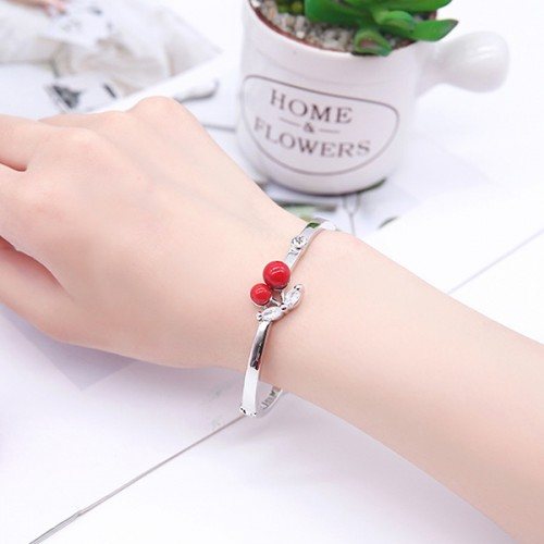 Crystal Decorated Silver Plated Women Bracelets