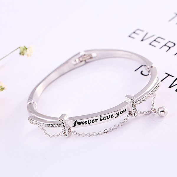 Love Prints Crystal Decorated Silver Plated Bracelet