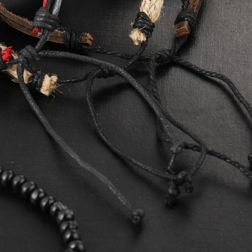 Beads Decorated Antique Style Leather Bracelet