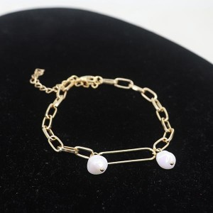 Wide Chain Pearl Hanging Bracelet - Golden