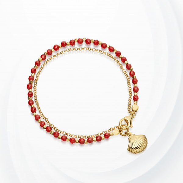 Cystal Decorative Pearl Chain Bracelet - Red