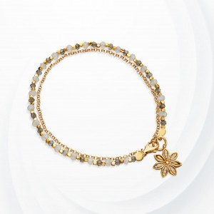 Cystal Decorative Floral Chain Bracelet - White