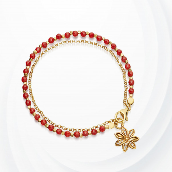 Cystal Decorative Floral Chain Bracelet - Red