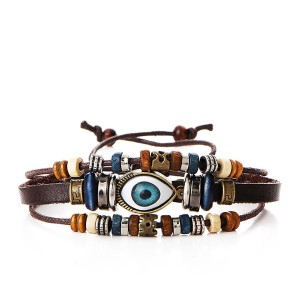 Trendy Leather Multiple Beads Eye Bracelet For Unisex