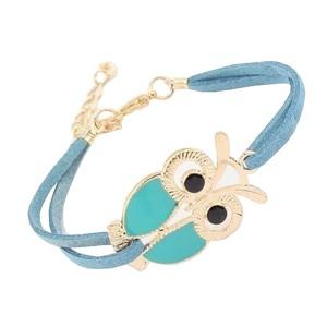 Cute Retro Owl Blue Leather Bracelet For Women